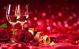 Wine, red roses, shine, red background, romantic