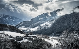 Inverno, montanhas, árvores, neve, nuvens, vila