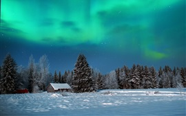 Preview wallpaper Winter, night, trees, house, snow, northern lights