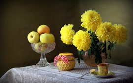 Yellow chrysanthemum, apples, jar, still life