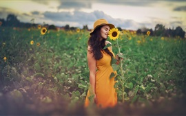 Preview wallpaper Yellow skirt girl and sunflower