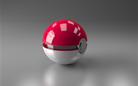 Preview wallpaper 3D ball, red and white