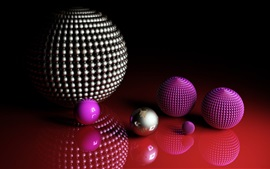 Preview wallpaper 3D balls, purple and silver