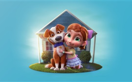 Preview wallpaper 3D cartoon, child girl and dog, house