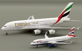 Preview wallpaper Airbus A380 and A320 planes