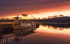 Preview wallpaper Ambleside, England, river, ship, sunset