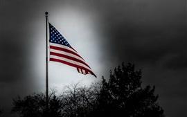 Preview wallpaper America flag, dusk