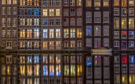 Amsterdam, Países Bajos, casas, ventanas, río, noche, luces