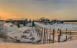 Arkhangelsk oblast, village, snow, houses, winter, Russia