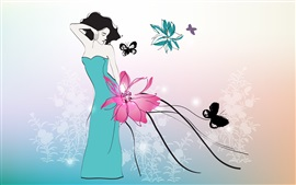 Preview wallpaper Art drawing, blue skirt girl, butterfly, flowers