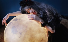 Preview wallpaper Asian girl and moon, art photography