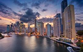 Aperçu fond d'écran Australie, Brisbane River, gratte-ciels, nuages, coucher de soleil
