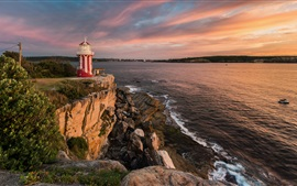 Austrália, Stephen Port, farol, mar, pôr do sol