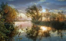 Осень, пруд, туман, деревья, восход солнца, облака