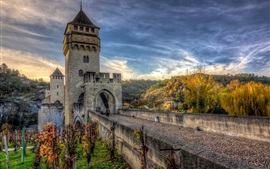 Autumn, trees, bridge, castle, HDR style