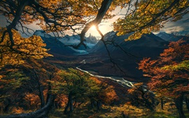 Preview wallpaper Autumn, trees, sun rays, mountains, river