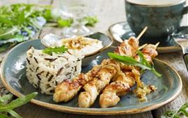 Churrasco, kebab, arroz, comida