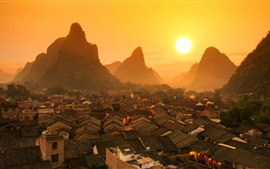 Preview wallpaper Beautiful Chinese landscape, Guilin, houses, mountains, sunrise