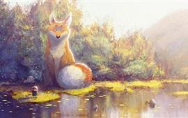 Pintura bonita, raposa grande e garotinha