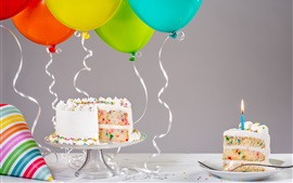 Birthday cake, candle, balloons, ribbon