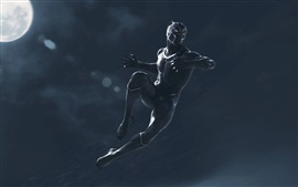 Preview wallpaper Black Panther, jump, rainy, art picture