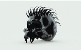 Preview wallpaper Black skull, spikes, white background