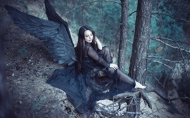 Preview wallpaper Black wings angel girl in the forest
