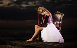 Preview wallpaper Blonde girl, chair, accordion