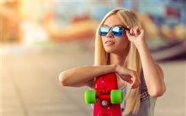 Preview wallpaper Blonde girl, sunglasses, skateboard