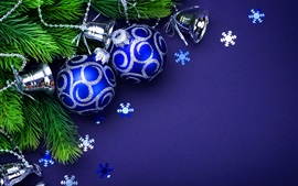 Preview wallpaper Blue Christmas balls, twigs, bells
