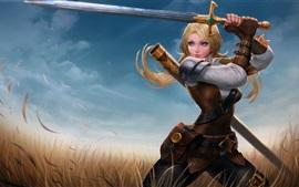 壁紙のプレビュー 青い目のファンタジーガール、剣、草