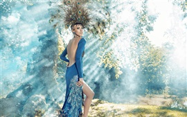 Preview wallpaper Blue skirt girl, peacock feathers, forest, art photography