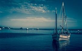 Preview wallpaper Boats, blue sea, dusk