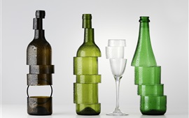Bottles and cup, cutting, creative