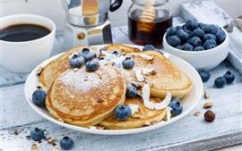 Café da manhã, panqueca, café, mirtilos
