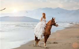 Preview wallpaper Bride, girl, horse, beach, sea