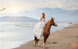Невеста, девушка, лошадь, пляж, море