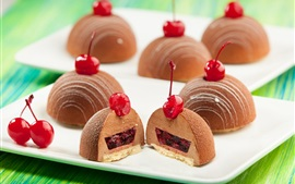 Cakes, cherry filling