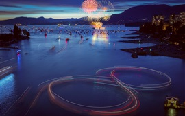 Preview wallpaper Canada, Vancouver, city evening, boats, bay, fireworks, lights