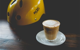Preview wallpaper Cappuccino coffee, helmet