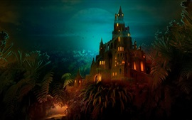Preview wallpaper Castle at night, lights, moon, trees, art picture