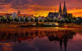 Cathedral, river, trees, glow, red sky, evening