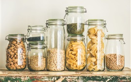 Cereals, pasta, nuts, glass bottles