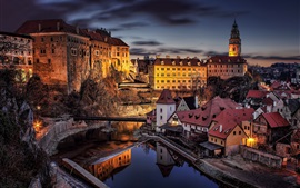 Preview wallpaper Cesky, Krumlov, city, night, river, bridge, lights, houses