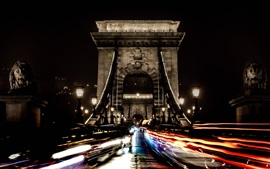 Chain bridge, Hungary, Budapest, night, cars, lights