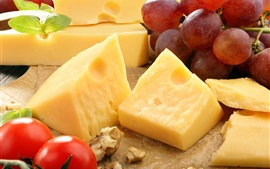 Cheese, grapes, tomatoes, food, fruit