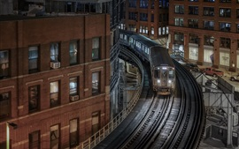 Preview wallpaper Chicago, Illinois, buildings, houses, railroad, train