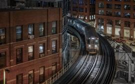Chicago, Illinois, edificios, casas, ferrocarril, tren