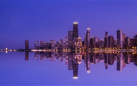Preview wallpaper Chicago, water reflection, skyscrapers, lights, night, North Michigan, USA