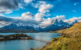 Чили, горы, дома, мост, озеро